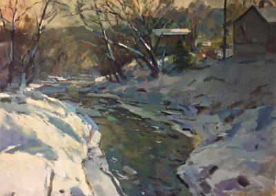"Charles Movalli - ""Snow Melt"", 36x48, acrylic, $10,000"