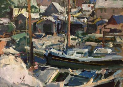 "Charles Movalli - ""Snowy Harbor"", 30x30, acrylic, $7500"