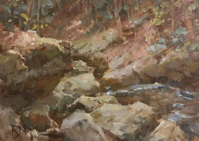"""Roger Dale Brown - """"Down Stream"""", 12 x 16, Oil, SOLD"""