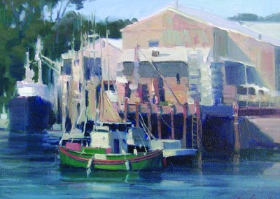 "John Poon - ""Green Boat"", 11x14, Acrylic, SOLD"