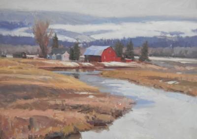 "John Poon - ""Winter Farm"", 18x24, Acrylic, SOLD"
