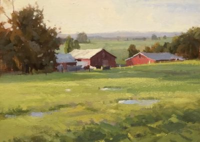 "John Poon - ""Farmlands"", 9x12, acrylic"