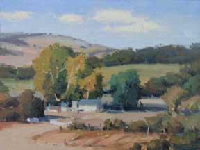 """John Poon- """"Napa Farm House"""", 9x12, Acrylic, SOLD"""