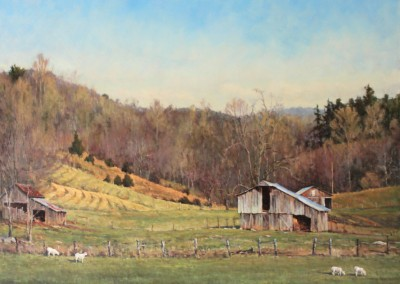 "Perry  Austin - ""Old Barn, Old Hills"", 48x60, Oil, SOLD"
