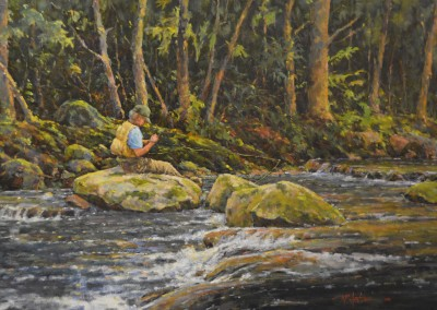 "Perry Austin - ""Trout Shadows"", 24x36, oil"