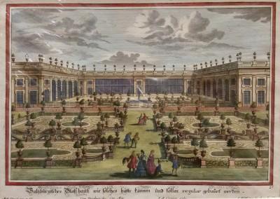 "Diesel, M. - ""Formal Garden View, Pl. 25"", 1725, Copper Engraving, $290"