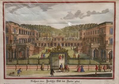 "Diesel, M. - ""Formal Garden View, Pl. 30"", 1725, Copper Engraving, $290"