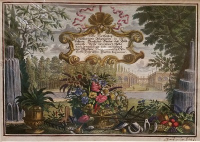 "Diesel, M. - ""Formal Gardens - Title Page"", 1725, Copper Engraving, $290"