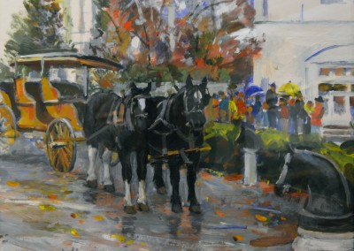 "Dale Ratcliff - ""Greenbrier Carriage Ride"", 20x24, Acrylic on Paper"
