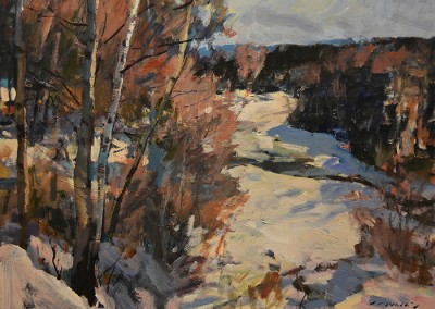 "Charles Movalli - ""Winter Birches"", 30x40, Acrylic, SOLD"