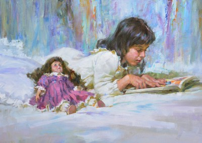 "John Michael Carter - ""Child Reading"", 18x24, Oil"