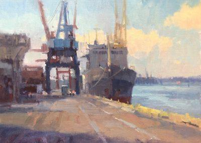 "John Poon - ""Port of Wilmington"", 12x16, oil"